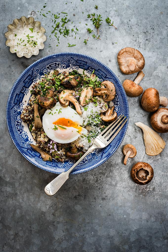 gomba quinoával és spenóttal)
