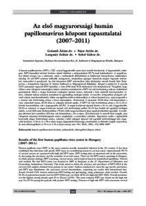 humán papillomavírus fertőzés aránya)