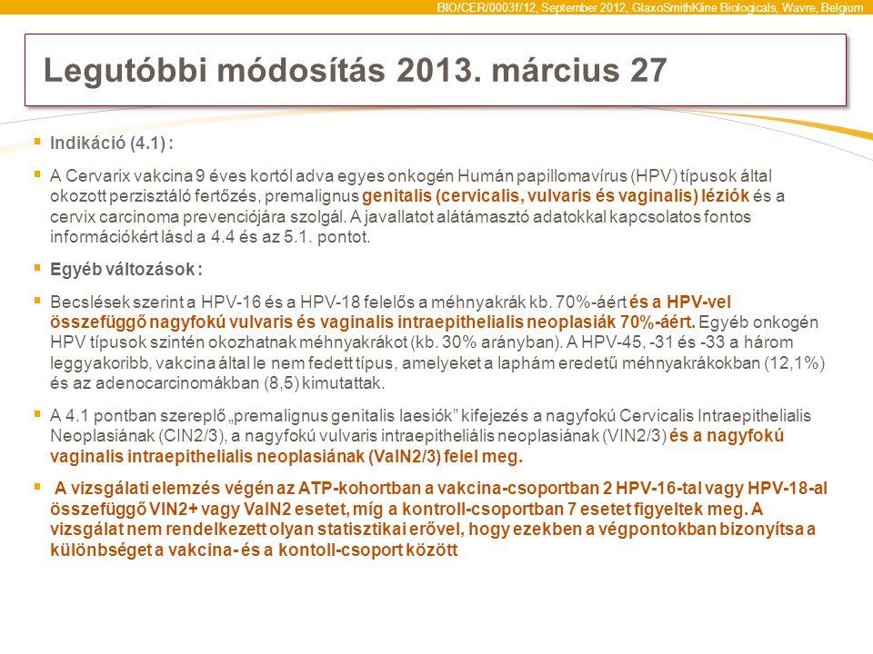 emberi papillomavírus hpv vakcina cervarix)