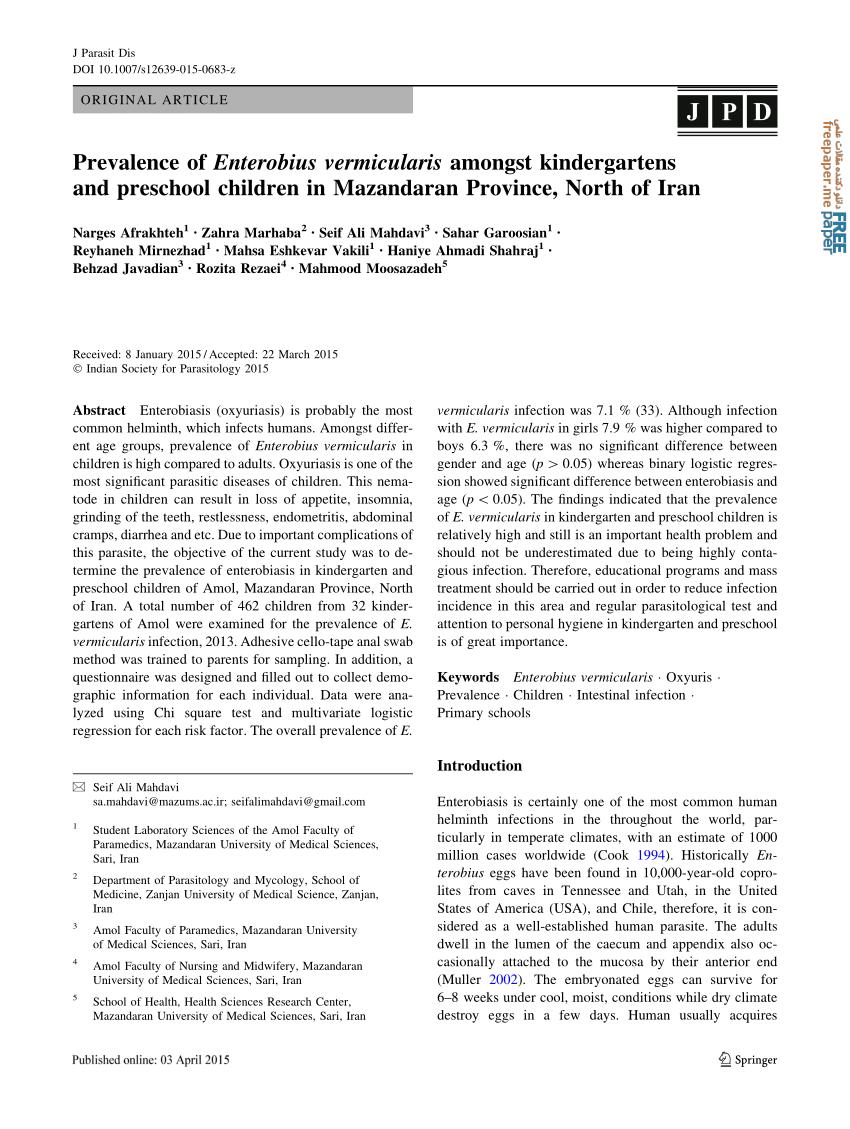 enterobius vermicularis kinder