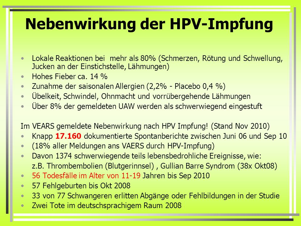 hpv impfung reakció)